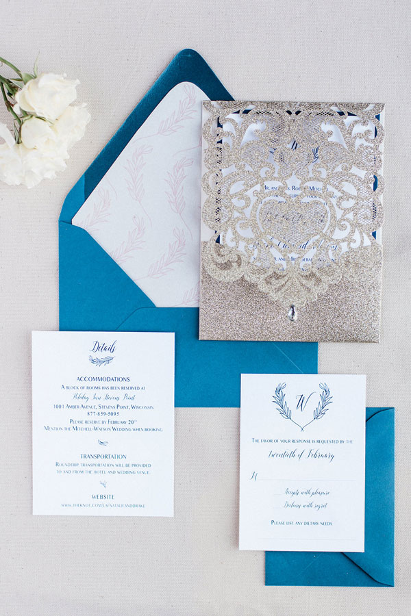 Blue and Gold Laser Cut Chicago Wedding Invitations at Eron's Event Barn in Stevens Point, WI