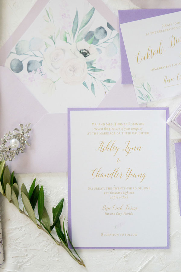 Lavender Wedding Invitations Chicago Wedding Invitations at Rosie Creek Farm