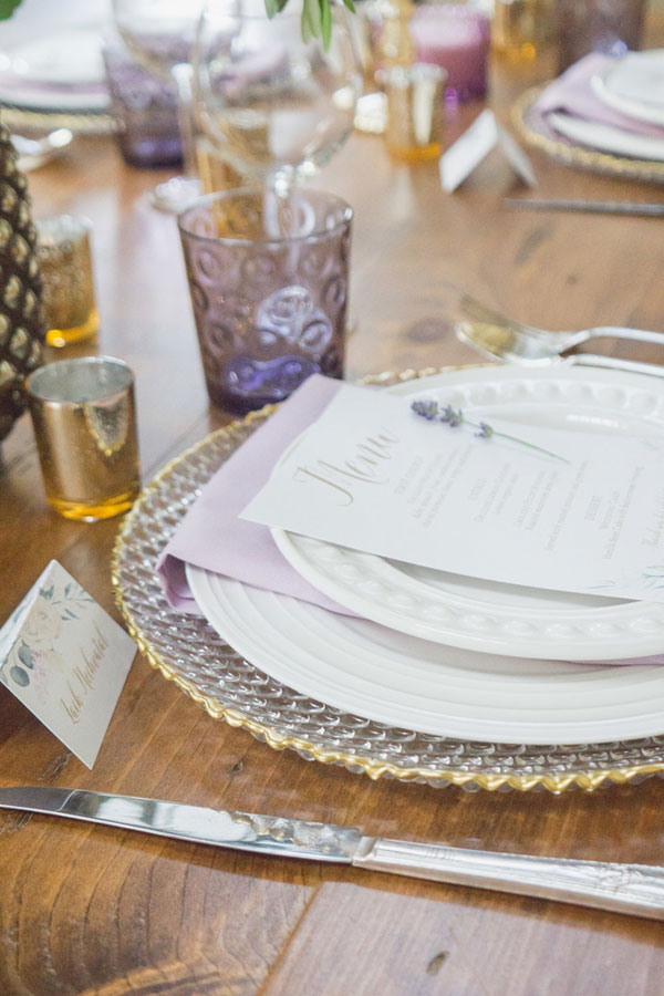 Lavender Wedding Invitations Chicago Wedding Menus and Place Cards at Rosie Creek Farm