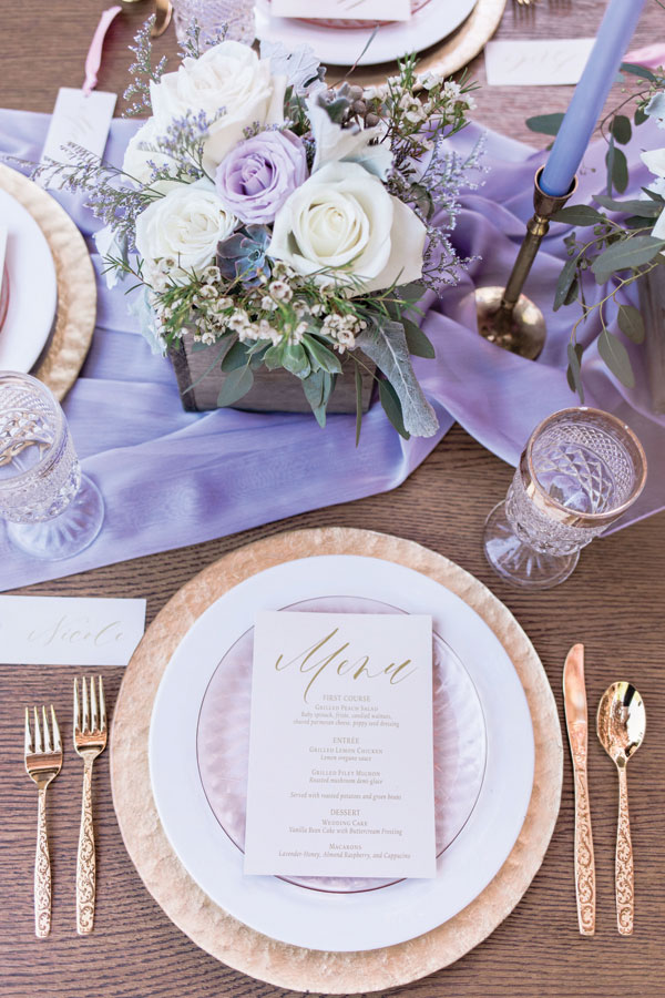 Wedding Menu and Place Cards with Ribbon at Winnetka Community House