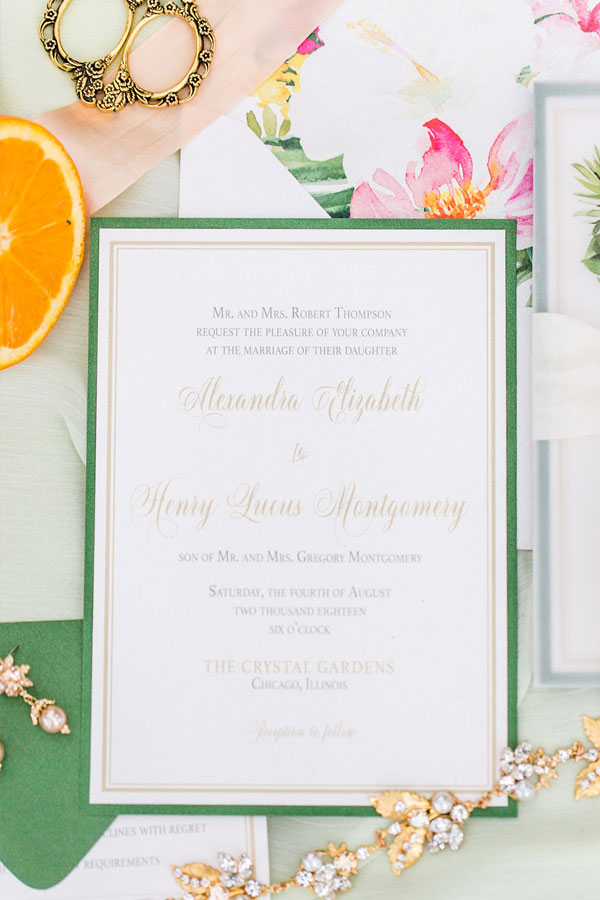 Tropical Wedding Invitations by Chicago Navy Pier at The Crystal Gardens
