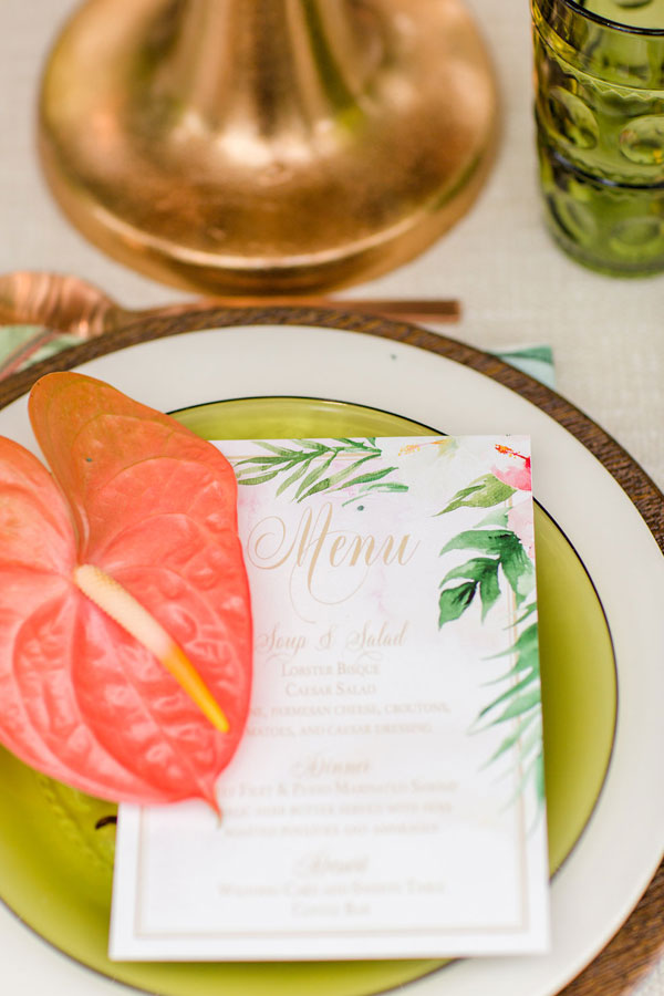 Tropical Wedding Menus by Chicago Navy Pier at The Crystal Gardens
