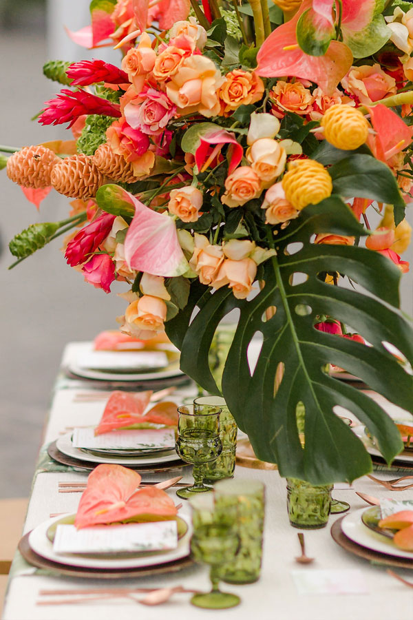 Tropical Wedding Reception Table by Chicago Navy Pier at The Crystal Gardens