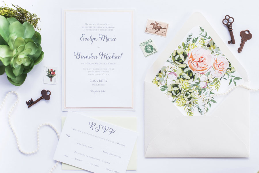 Wedding Invitation Suite with Succulents and Garden Roses for Florida Wedding