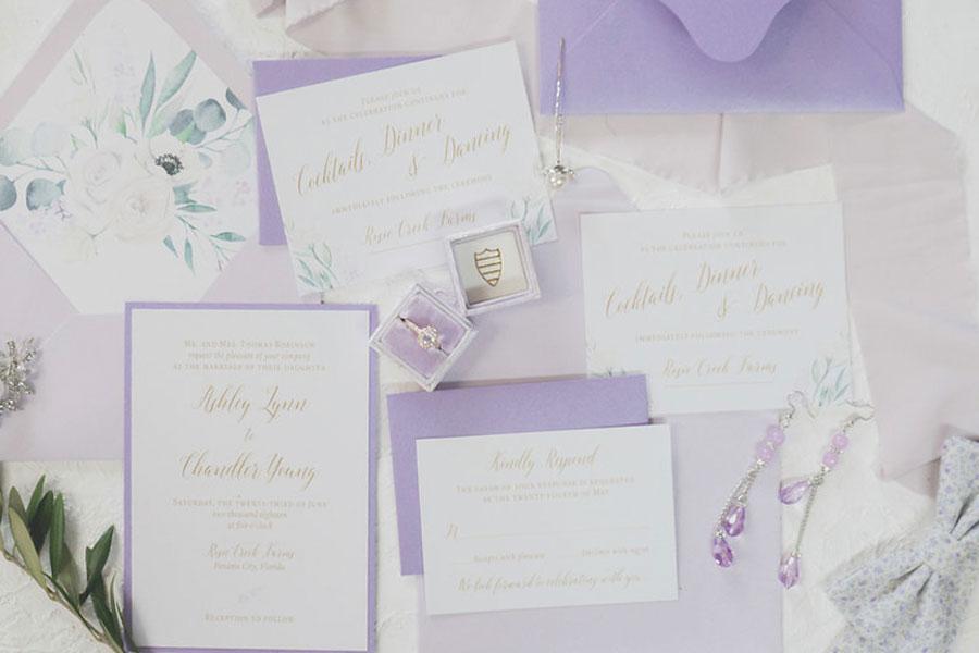 Lavender Wedding Invitation Suite Summer Chicago Wedding Invitations