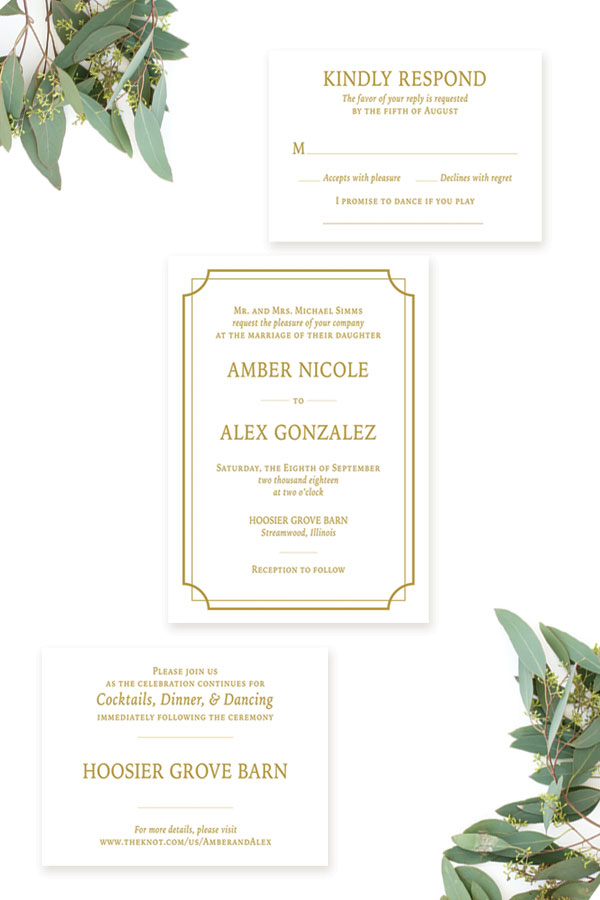 Classic Wedding Invitation by Emery Ann Design in Chicago