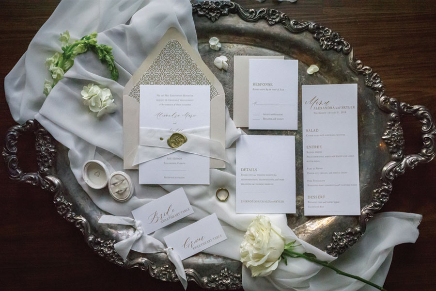 Classic Wedding Invitation with Silk Ribbon and Wax Seal by Emery Ann Design