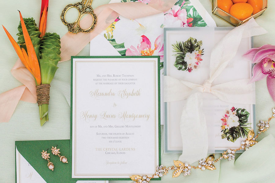 Tropical Wedding Invitations by Emery Ann Design for Navy Pier Wedding at The Crystal Gardens