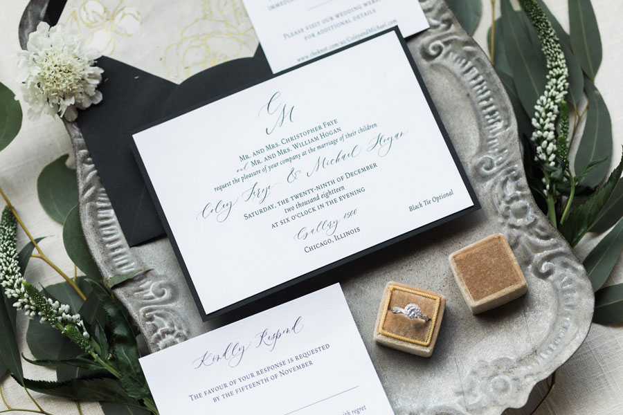 White and Black Wedding Invitation with Monogram by Emery Ann Design
