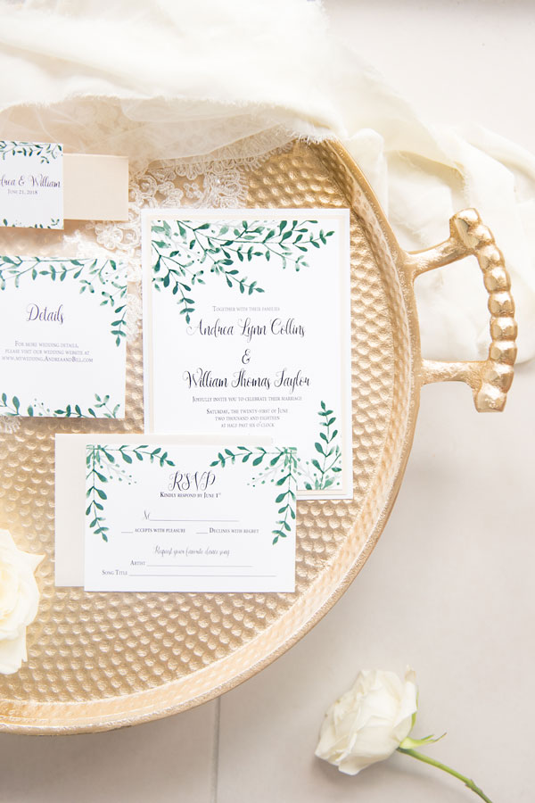 Watercolor Chicago Wedding Invitation with Greenery by Emery Ann Design Westmont