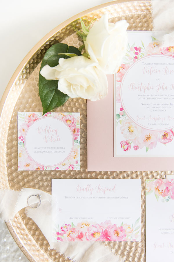 Peony Wedding Invitation is pink and coral by Emery Ann Design Chicago and Westmont