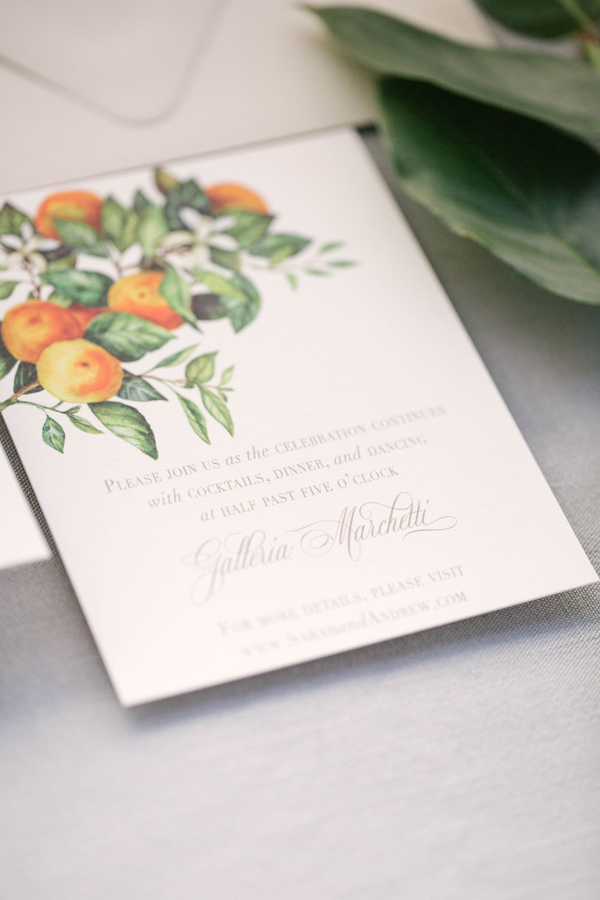Citrus Details Card for Wedding at Galleria Marchetti in Chicago by Emery Ann Design