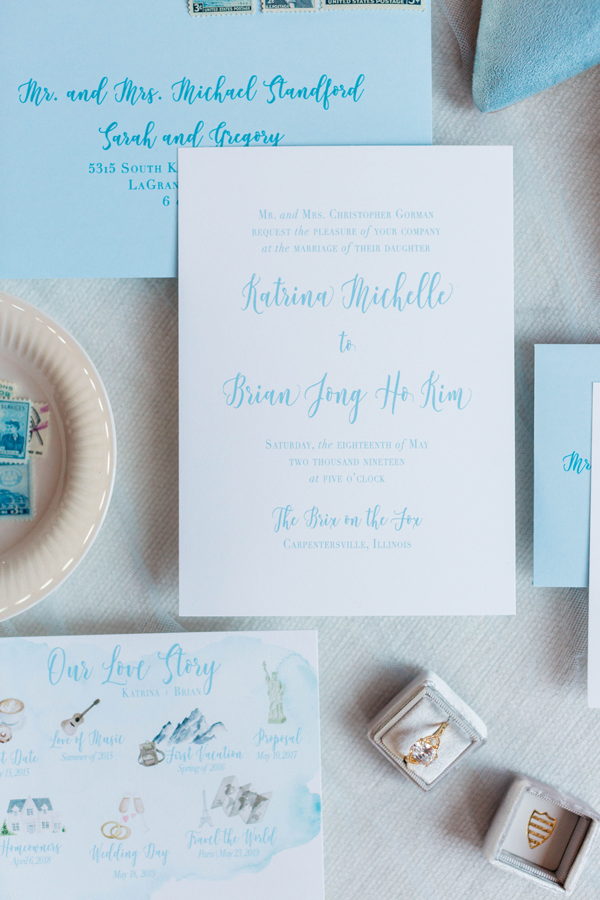 Blue Chicago Wedding Invitations by Emery Ann Design