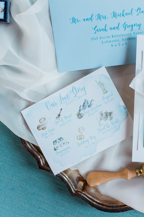 Watercolor Wedding Invitation Love Story at The Brix by Emery Ann Design