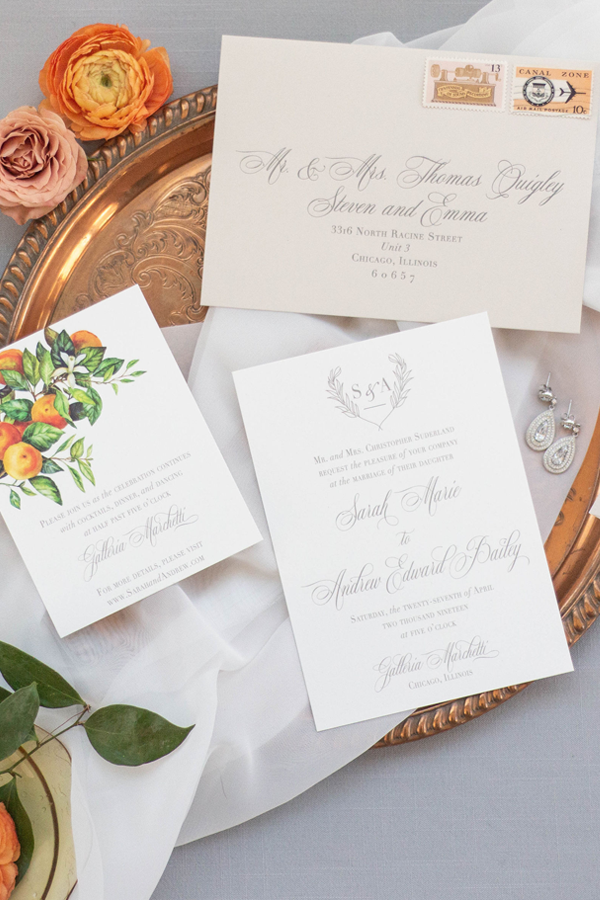 Classic Wedding Invitation with Addressed Envelopes for Chicago Wedding at Galleria Marchetti by Emery Ann Design