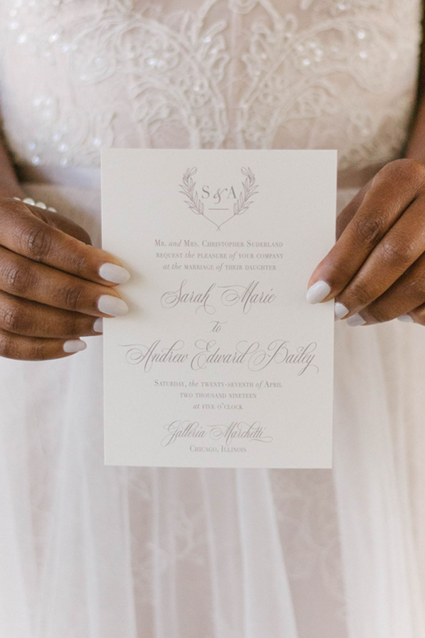 Wedding Crest Invitation for Chicago Wedding at Galleria Marchetti by Emery Ann Design