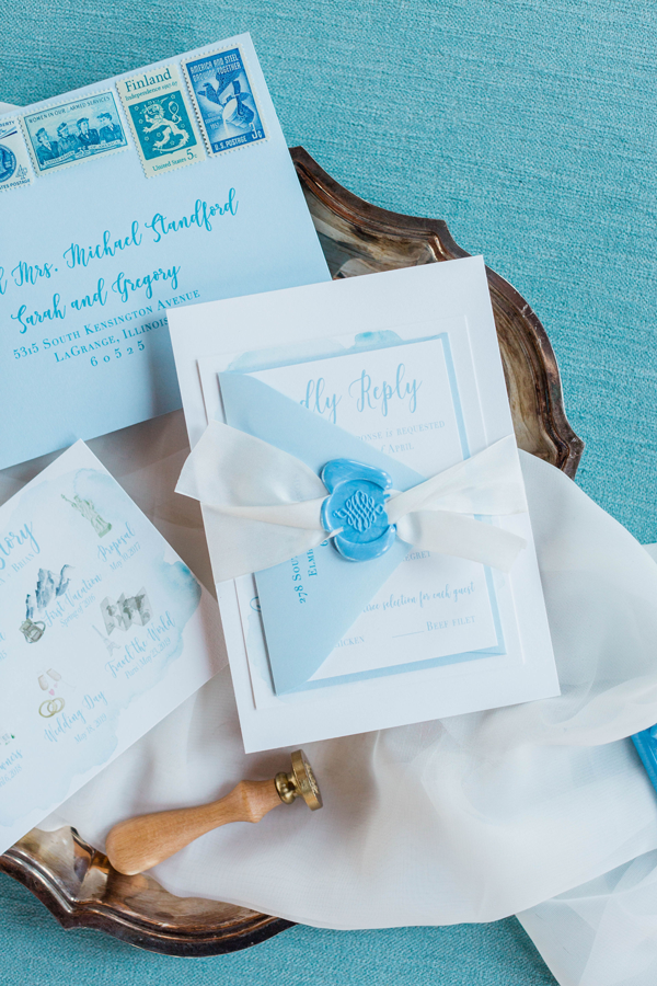 Blue Chicago Wedding Invitation with Wax Seal at The Brix by Emery Ann Design